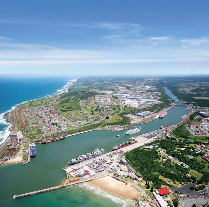 Aerial view of the Port of East London, featured in Africa PORTS & SHIPS maritime news