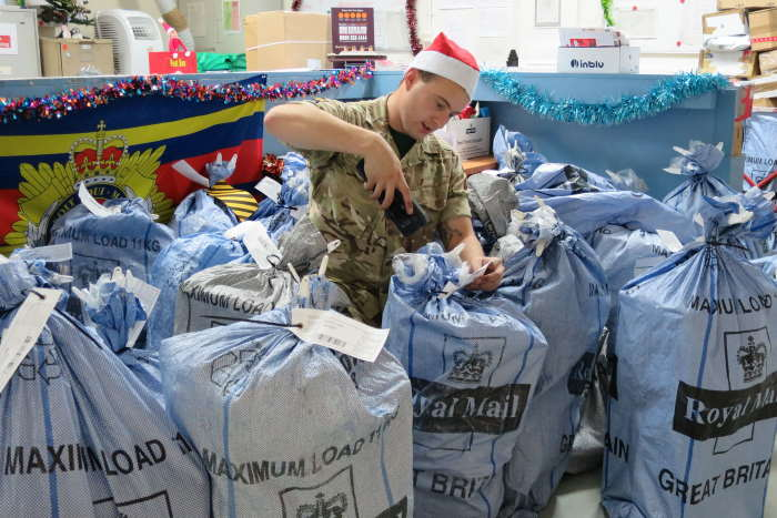 Lance Corporal Lenachan, of 901 Expeditionary Air Wing in the Middle East is sorting through the Christmas post that has recently arrived via the Royal Air Force airbridge with the UK. Here there is ingoing and outgoing post, especially for important welfare packages, for all the British service personnel in that part of the theatre. Picture: MoD Crown Copyright 2019 ©, Featured in Africa PORTS & SHIPS