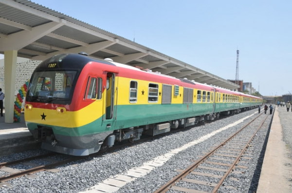 A smart looking Ghana Rail passenger train, featured in Africa PORTS & SHIPS maritime news
