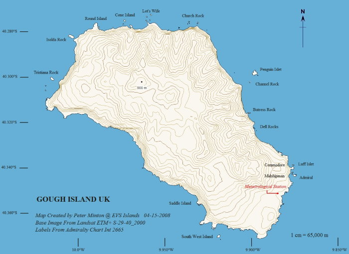 Map of Gough Island. Wikipedia Commons, featured in Africa PORTS & SHIPS