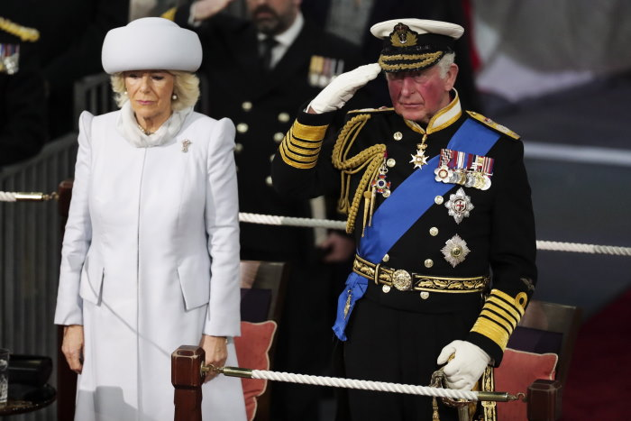 HRH The Prince of Wales taking the Royal salute alongside HRH The Duchess of Cornwall during the commissioning, featured in Africa PORTS& SHIPS maritime news