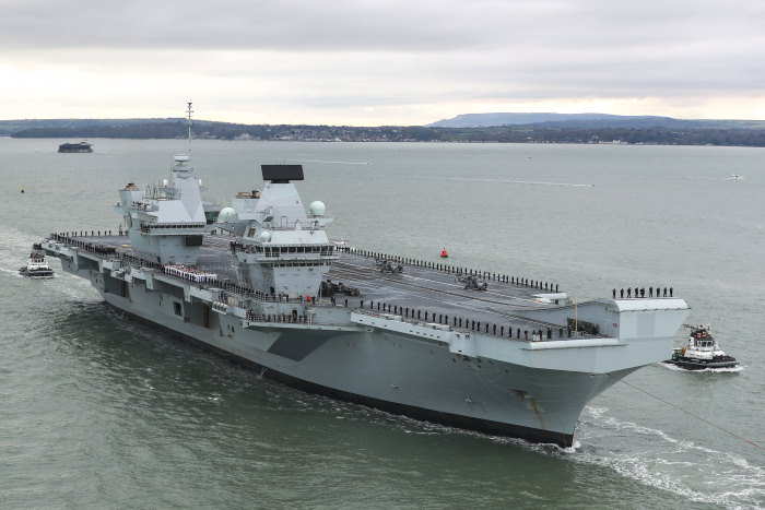 2 There was considerable fanfare as the newest of Britain's carriers was greeted by thousands of people lining Portsmouth's seafront. Sailors lined the flight deck of the enormous carrier – the second of the largest warships ever built for the Royal Navy, featured in Africa PORTS & SHIPS maritime news