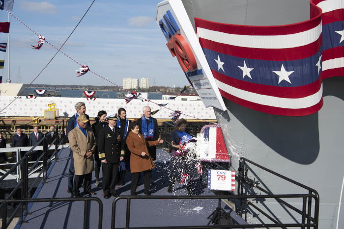 USS John F Kennedy christened. US Navy photo by Mass Communication Specialist Seaman Cory J Daut. Released. USN ©