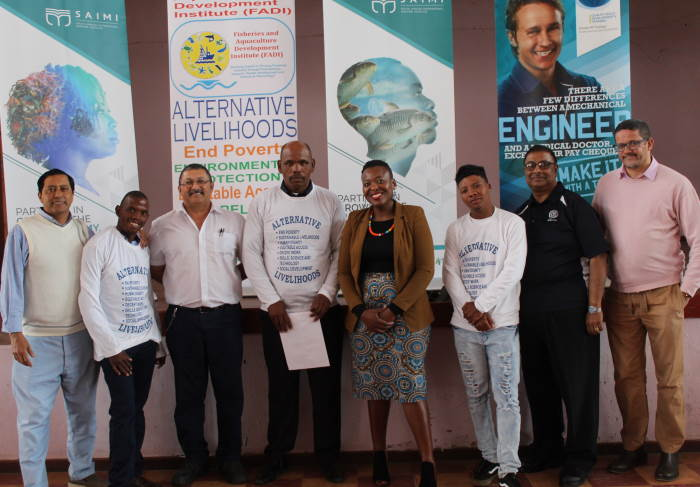 Pictured from left during the Alternative Livelihoods graduation ceremony in Kenton-on-Sea were FADI Project Manager Sulaiman Appoles, Graduate Mzamo Marwanqana, ETC HOD Peter John, Graduate Mkhuthazi Ndike, SAIMI research associate Adv. Akhona Baninzi, Graduate Meandré Koeries, ETC CEO Neil Harilal and FADI CEO Jeremy Marillier, featured in Africa PORTS & SHIPS maritime news