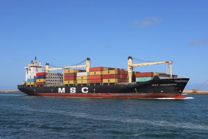 MSC Annamaria enters the port of Durban. Picture: Keith Betts, featured in Africa PORTS & SHIPS maritime news