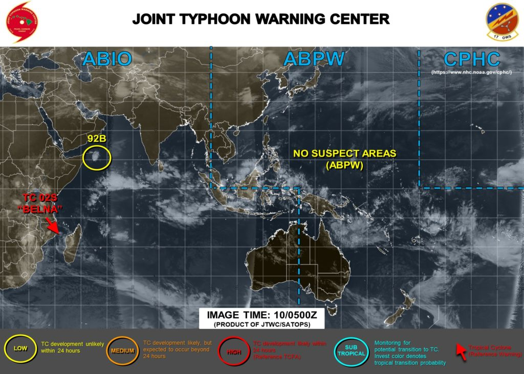 Cyclone Belna tracking along western coast of Madagascar, featured in Africa PORTS & SHIPS, Mapr: JTWC