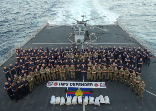 The ship's company poses with the haul of contraband seized from the dhow. Featured in Africa PORTS & SHIPS maritime news