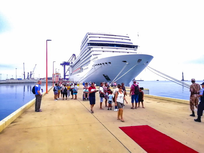 MSC Orchestra on her berth at the Port of Walvis Bay's new cruise jetty - featured in Africa PORTS & SHIPS maritimenews