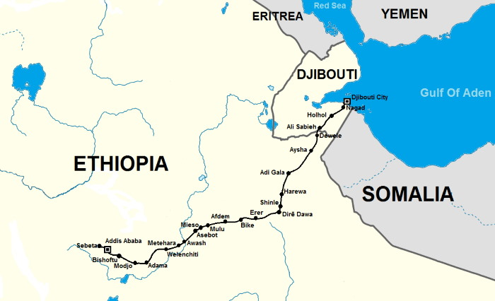 Map of Djibouti showing railway connection to Addis Ababa in Ethiopia, featured in Africa PORTS & SHIPS