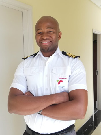 Sandile Gebashe, Port of Ngqura Open Pilot, appearing in Africa PORTS & SHIPS