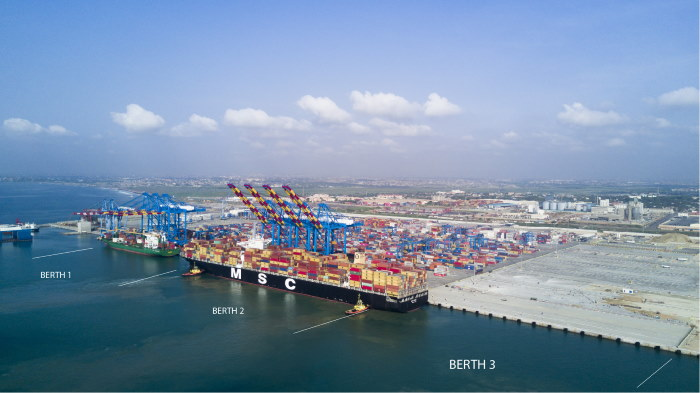 Tema MPS 3 terminal layout, with the 13,000-TEU MSC Renee just alongside of berth 2. Picture courtesy MPS, featured in Africa PORTS & SHIPS maritime news