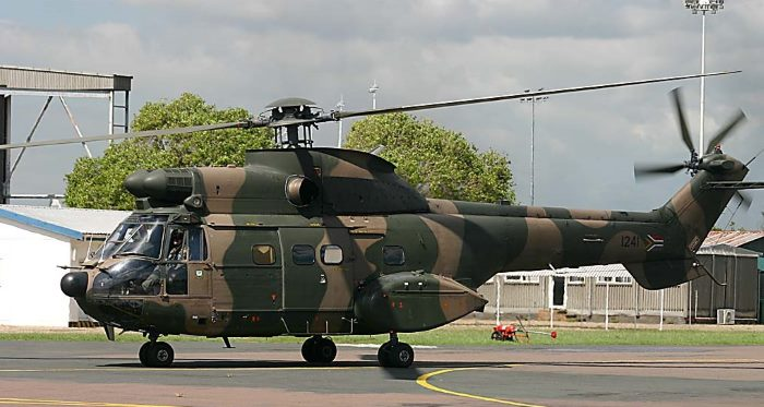 An Oryx helicopter of 15 Squadron, SA Air Force at Air Force Base Durban, featured in Africa PORTS & SHIPS maritime news