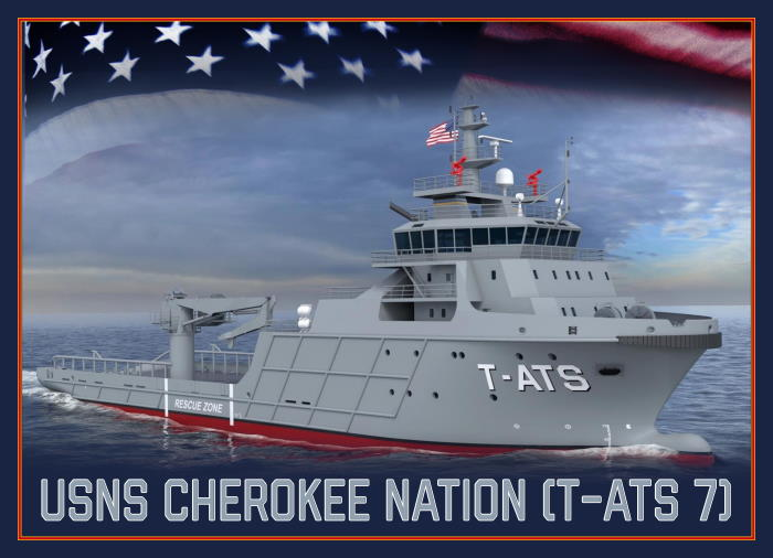 An artist's impression of the future USNS Cherokee Nation (T-ATS 7). US Navy photo illustration by Mass Communication Specialist 1st Class Paul L Archer/Released USN ©, featured in Africa PORTS & SHIPS maritime news