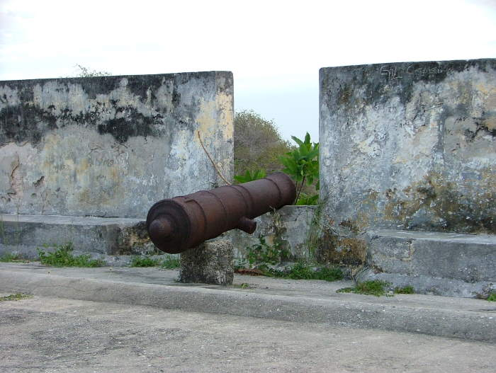 The battlements of Sao Joao Batista Fort on Ibo island which once provided authorty, safety and protection for the Portuguese. Today the people of Quissanga on the mainland opposite the island have again sought protection, this time from radicalised Islamic terrorists ransacking their mainland town. This picture: Terry Hutson , featured in Africa PORTS & SHIPS