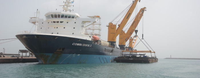 Combi Dock 1 preparing to load one of the project's barges. Picture courtesy GPHA, featured in Africa PORTS & SHIPS