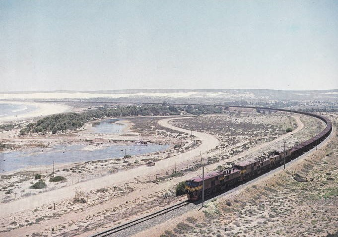 Iron ore train on the Sishen-Saldanha ore line, featured in Africa PORTS & SHIPS