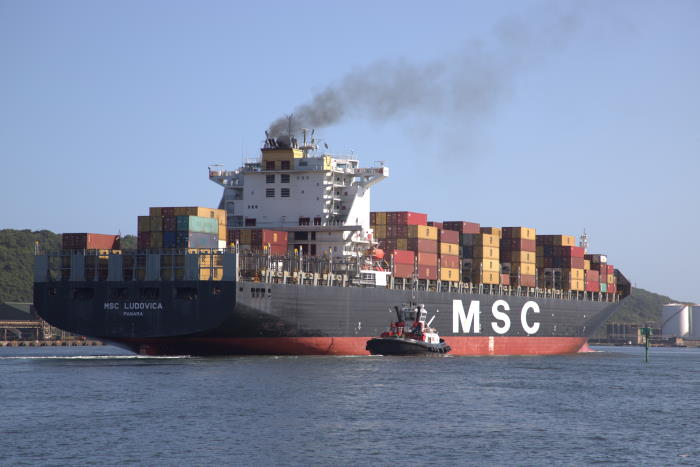 MSC Ludovica arriving in Durban, March 2020.. Pictures: Keith Betts, featured in Africa PORTS & SHIPS
