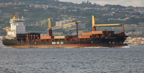 MSC Talia F which has been attacked by West Africa pirates, with seven crew kidnapped. Picture: VesselFinder, featured in Africa PORTS & SHIPS