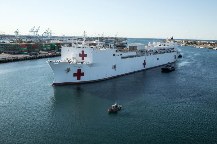 USNS Mercy. US Marine Corps photo by Corporal Alexa M Hernandez/Released USN ©, featured in Africa PORTS & SHIPS
