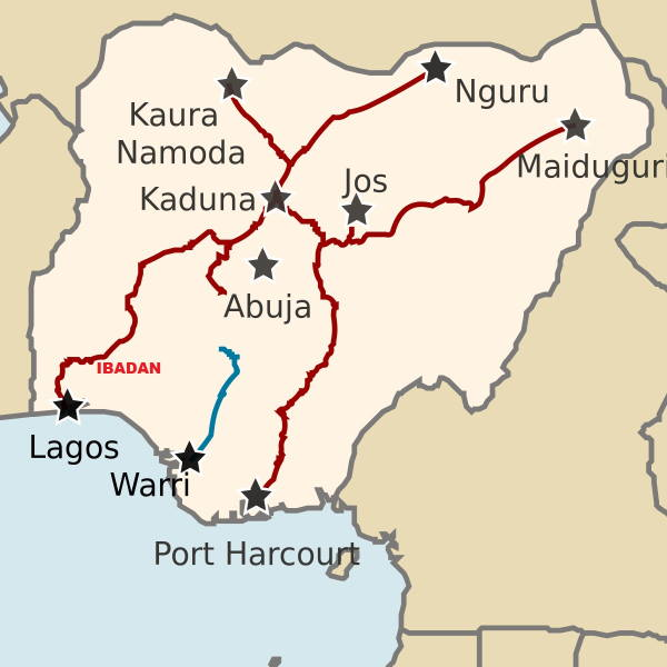 Map of the Nigerian railway, featured in Africa PORTS & SHIPS maritime news