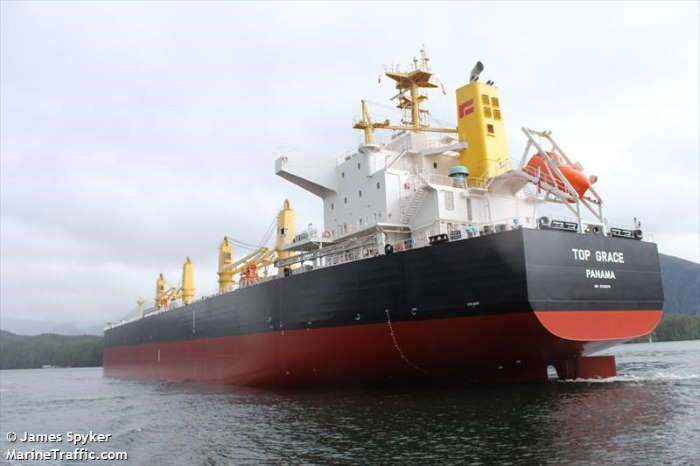 The bulker Top Grace, which is detained in Richards Bay after the master and crew are alleged to have thrown two stowaways overboard while off the Zululand coast. Picture: James Spyker/Marine Traffic, featured in Africa PORTS & SHIPS maritime news