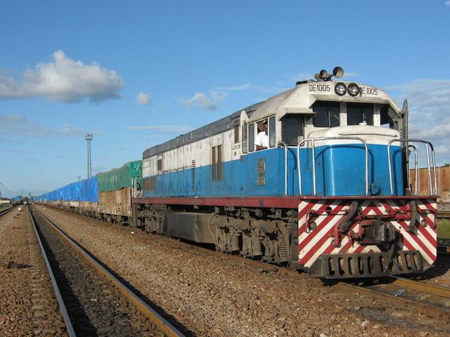 TAZARA goods train operating between Dar es Salaam and Zambia, featured in Africa PORTS & SHIPS maritime news