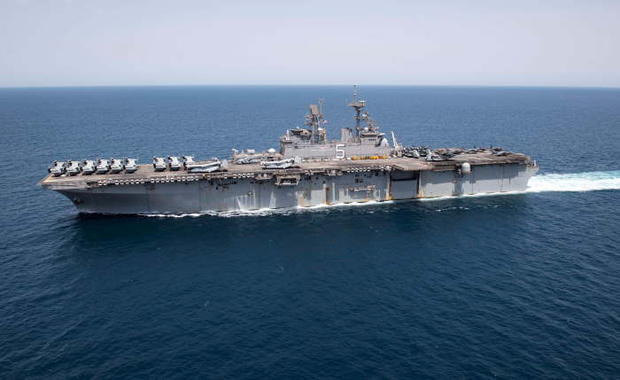 The amphibious assault ship USS Bataan (LHD 5) transits the Arabian Gulf on 5 April. US Navy photo by Mass Communication Specialist 2nd Class Tamara Vaughn/Released. USN ©, featured in Africa PORTS & SHIPS