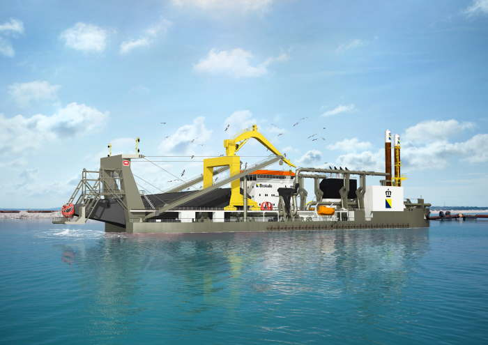 Boskalis cutter suction dredger, illustrating story in Africa PORTS & SHIPS