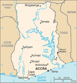 map of Ghana, featured in Africa PORTS & SHIPS maritime news