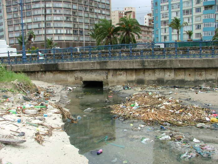 Stormwater pollution enters the port through a number of drains leading from the city streets. These bring plastics, cardboards, and chemicals in increasing volume into the once pristine waters of the bay. Picture: Terry Hutson , featured in Africa PORTS & SHIPS maritime news