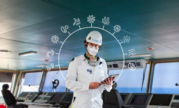 DNV GL surveyor onboard a vessel. The CIP-M surveys and audits are performed by surveyor teams comprised of DNV GL – Healthcare infection prevention and control experts together with experienced maritime auditors, featured in Africa PORTS & SHIPS maritime news