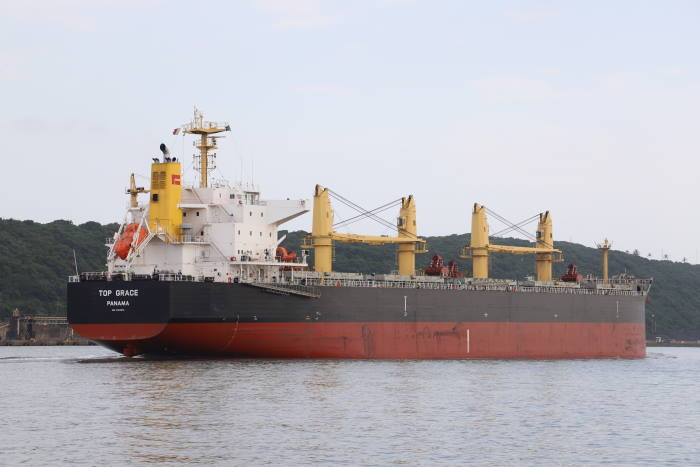 Top Grace, the Chinese vessel from which two Tanzanian stowaways were put overboard off th KZN coast, featured in Africa PORTS & SHIPS maritime news