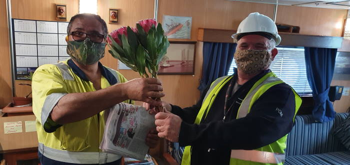 Master of SA Amandla welcomed back from another successful salvage, by Dave Murray [icture AMSOL Marine Manager, featured in Africa PORTS & SHIPS maritime news