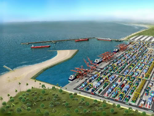 Nigeria's deepwater port of Lekki, as it will be when completed, featuring in Africa PORTS & SHIPS maritime news