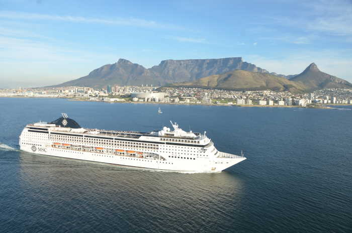 MSC Opera with Cape Town and Table Mountain beyond, featured in Africa PORTS 7 SHIPS maritime cruise news