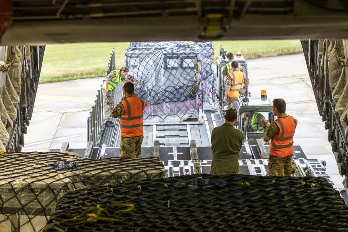 Loading components of the field hospital at RAF Brize Norton for Accra, Ghana. Photograph MOD Crown Copyright 2020 ©, featured in Africa PORTS & SHIPS maritime news
