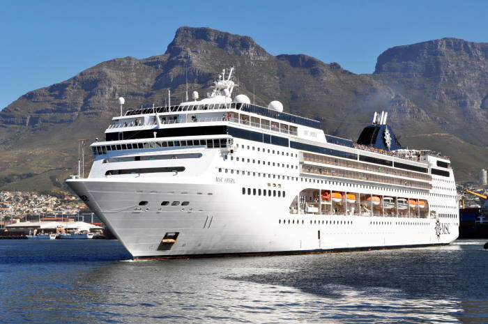 MSC Opera in Cape Town where she will be homeported this coming summer, featured in Africa PORTS & SHIPS maritime cruise news