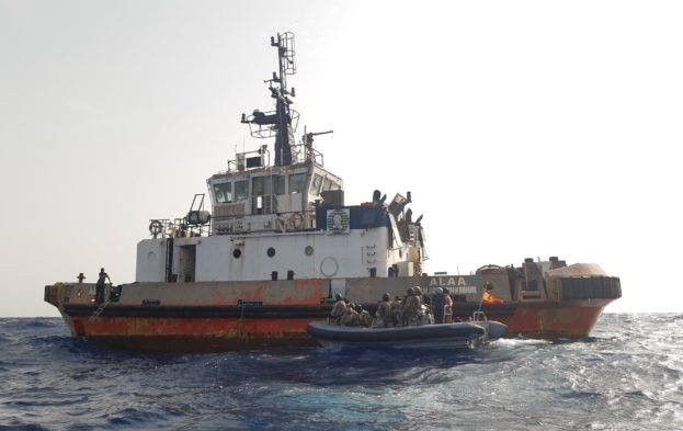 The tug ALAA which needed assistance from a EU NAVFOR naval ship, featured in AfricaPORTS & SHIPS maritme news