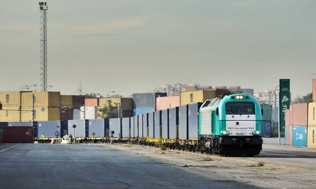 Freight (goods) train arriving in Madrid from Yiwu in China, featured in Africa PORTS & SHIPS maritime news