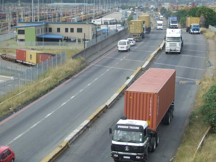 Trucking in Langeberg Road outside the Durban Container Terminal, featured in Africa PORTS & SHIPS maritime news