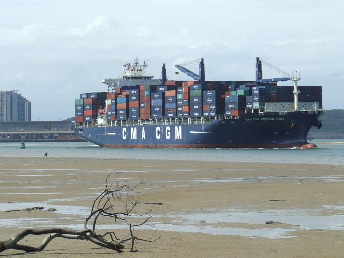 CMA CGM AfricaTwo in Durban Harbour. and sliding down the Esplanade Channel and into the Maydon Channel beyond. Picture: Terry Hutson, featured in Africa PORTS & SHIPS maritime news