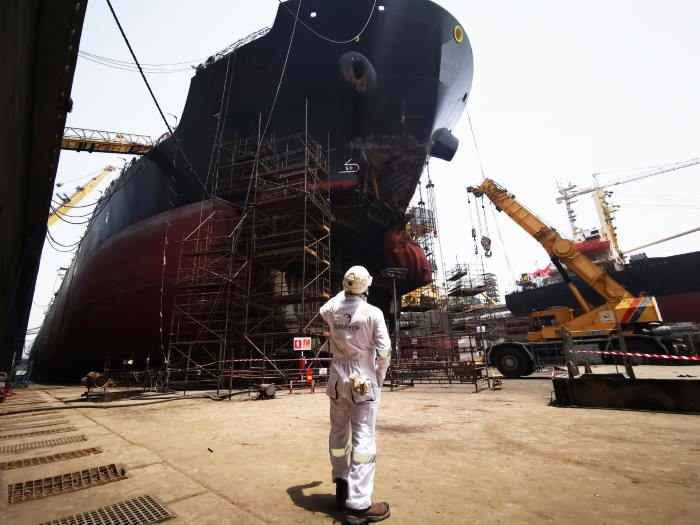 A vessel under repair in the UAE. Inchcape Shipping Services: feet on the ground in ports worldwide. Picture courtesy: Inchcape Shipping Services ©, featured in Africa PORTS & SHIPS maritime news