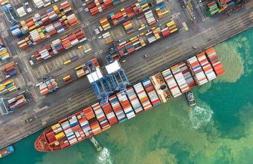 A drone's-eye view of the Douala Container Terminal, featured in Africa PORTS & SHIPS maritime news