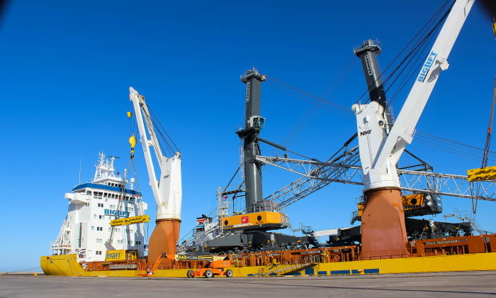 PE's new mobile cranes that recently arrived, feature here in AfrIca PORTS & SHIPS maritime news
