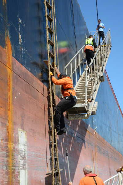 Boarding a vessel outside the port, featured in Africa PORTS & SHIPS maritime news