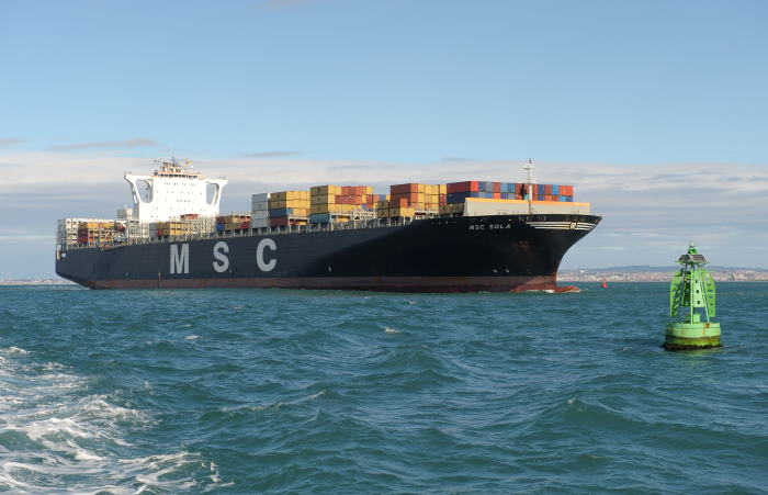 A container ship (MSC SOLA) approaching Buoy 1 in the Coega Channel, one nautical mile from the Port of Ngqura's breakwater, featured in Africa PORTS & SHIPS maritime news