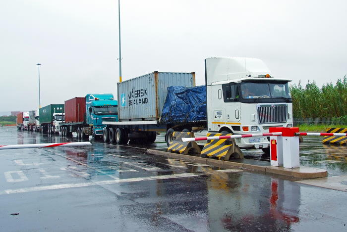 Trucks arriving at the TPT layby in the port of Durban, featured in Africa PORTS & SHIPS maritime news