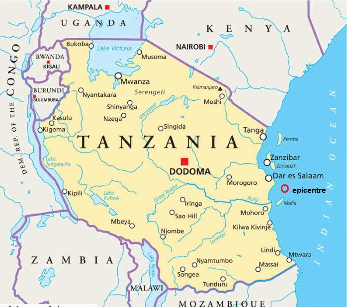 Map of Tanzania, indicating the source of Wednesday's earthquake to the north of Pemba island, featured in Africa PORTS & SHIPS maritime news