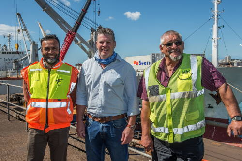Celebrating the occasion are from the left Captain Faisal Sultan (Senior Operations Manager, TNPA), Charles Gantz (Managing Director, Anlin Shipping) and Jimmy Prinsloo (Regional GM, BPO). Featured in Africa POPRTS & SHIPS maritime news