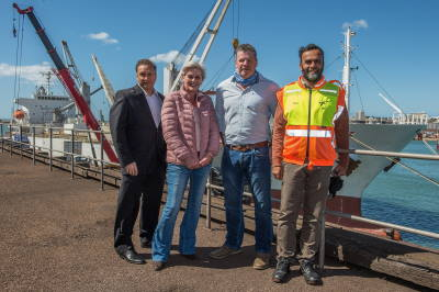 From the left are Rajesh Dana (Port Manager, TNPA), Angela Nel (Operations and Planning, Anlin Shipping), Charles Gantz (Managing Director, Anlin Shipping) and Captain Faisal Sultan (Senior Operations Manager, TNPA), featured in Africa PORTS & SHIPS maritime news